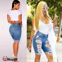 NEW Summer Short Pants Women Ladies Ripped Jeans Shorts Knee Length Sexy Bodycon