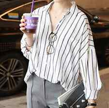 Korean Fashion Women Striped Loose Casual Button Down Shirt Blouse Tops XL