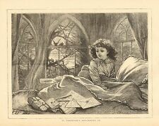 Children, St. Valentine's Day, Waking Up, Vintage 1874 Antique Art Print CUTE !