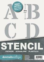 "Letter Stencil Set Roman CAPITALS ALPHABET NUMBERS 70mm tall (2.75"") 6 x Sheets"