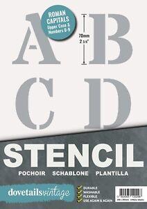 "Letter Stencil Set Roman CAPITALS ALPHABET NUMBERS 70mm tall (2.75"") 6 x Sheets"