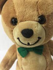 "Gund Kraft PEANUT BUTTER Teddy Bear Green Bowtie 10"" Plush Toy"