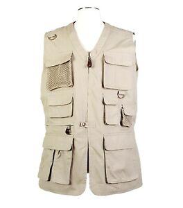 VTG Eddie Bauer LEGENDS Sz L Vented 11 Pocket Hunting Safari Vest Beige