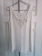 Eileen Fisher Woman, PM, Sleeveless Textured Knit Linen Top, Embellished Neck
