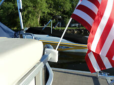 Pontoon Boat Rail Flag Pole Mount / Holder, REMOVABLE, Made in the USA
