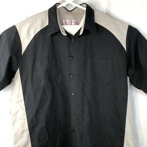 Red Kap Color Block XXXL Button Front Uniform Work Shirt 3XL Mens Black and Gray