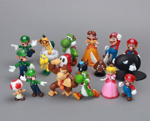 Kids Gift 18pcs Cute Movie Super Mario Action Figures Set Cake Topper Toy Party