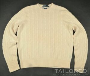 POLO RALPH LAUREN Solid Ivory 100% CASHMERE CABLE KNIT Sweater Mens - LARGE