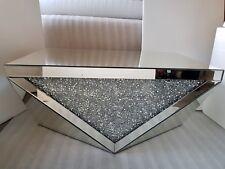 Mirrored Coffee Table Sparkly Silver Diamond Crush Unique Design 100x60x48cm