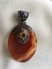 Vintage STERLING SILVER 925 PENDANT, Citrine, polished Agate, signed A