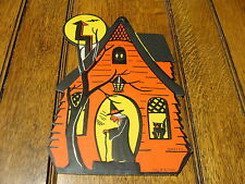 """early H.E. Luhrs embossed WITCH HOUSE decoration, 9"""" TALL beautiful"""