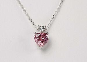"""New Avon PINK HEART Fancy Shape CZ Trillion Pendant Charm Necklace 17""""-20"""""""