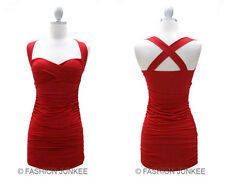 RED CROSS BACK Dress Ruched Sweetheart Mini Short Sexy Clubwear Padded NEW 2XL