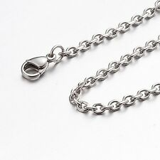 "3mm 10""-100"" Silver Stainless Steel Cross Necklace Chain Sb01 USA Seller"