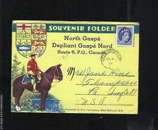 SOUVENIR FOLDER GASPE NORD CANADA 1955 H V HENDERSON 5 CENT ELIZABETH STAMP