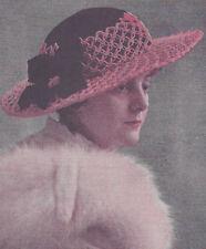 Vintage Crochet PATTERN Picture Hat Sun Summer Wedding