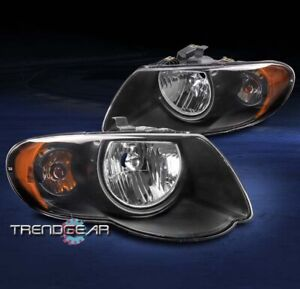 For 2005 2006 2007 Chrysler Town & Country Replacement Headlights Headlamp Black