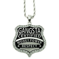 """Silver Gangster Gangsta Money Power Respect Pendant Rope Chain Necklace 30"""""""