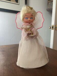 Vintage Angel Tree Topper Blonde Hair Pink Wings And Blue Eyeshadow