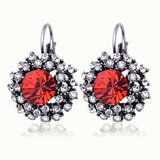 Silver Plated Red Vintage Rhinestone Crystal Round  Lever Back Earrings Gift