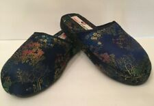 Charles Jourdan Womens Slippers Size 5-6 Navy Blue Satin Oriental Print Slip On