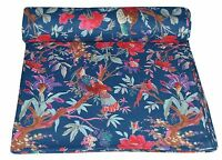 """Bird Print Blue Indian 44"""" Wide Cotton Crafting Fabric Material By The Yard"""
