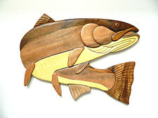 Steelhead Trout Fish Fishing Intarsia Wood Wall Art Home Decor Plaque Lodge New