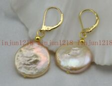 2018 New Natural 12-13mm Pink FreshWater Coin Pearl Earring AAA