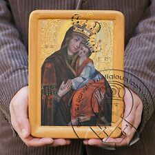 Gold Virgin Mary Icon XVII Byzantine Gesso Art Ukrainian Icons for Sale