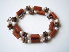 Kette mit Goldfluss Säulen SWZ Perlen und braunen Perlmutt Linsen 50,6 g/46 cm
