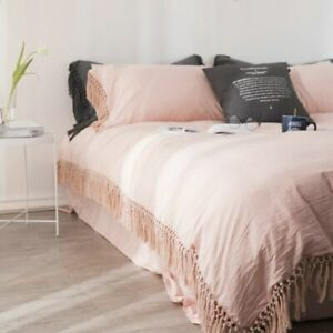 Bedding Set Twin Queen King Size Bed Set W/Tassels Duvet Cover Bed/Fitted Sheet