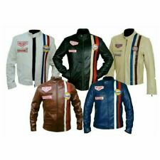Steve McQueen Le Mans Driver Grandprix Gulf motorcycle Leather Jacket  CE Armour