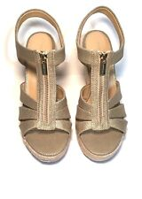 NEW MICHAEL KORS BERKLEY METALLIC CANVAS FRONT ZIP ESPADRILLE WEDGE SANDALS-10
