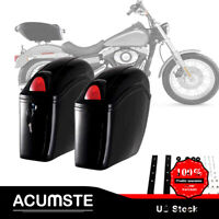 2Pcs Side Black Motorcycle Trunk Luggage Box Case Bag With Tail light For Honda