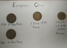 European Coins Two 10 New Pence, 1 Euro France, 2 Euro Greece