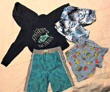 Lot 4 pc Boys Hoodie Baggies Shorts Fishers Point Sharks Angry Birds Size 2-4