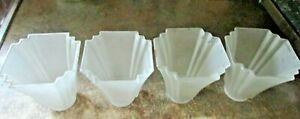 Ceiling Fan Vanity Light Shade Covers Frosted Square Fluted (4) Art Deco Style