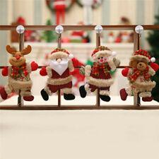 4Pcs Christmas Ornament Santa Claus Plush Snowman Xmas Tree Hanging Party Decor