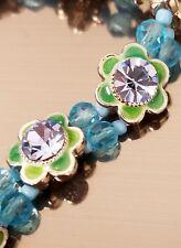 Vintage Green Enamel Blue Rhinestone Metal Flower & Blue Bead Stretch Bracelet
