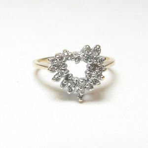 Estate 10K Yellow And White Gold Single Cut Diamond Heart Promise Ring 0.30 Cts