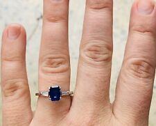 Stunning Womens Genuine natural Diamond sapphire gold ring platinum val $3920