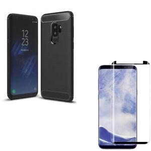 Galaxy S9+ Plus - Carbon Fiber Case Tempered Glass Screen Protector Anti-Glare