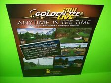 Incredible Technologies 2011 Golden Tee Live Video Arcade Game Promo Flyer