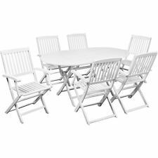 7 pcs Outdoor Patio Dining Set Acacia Wood 6 Folding Chairs + 1 Oval Table White
