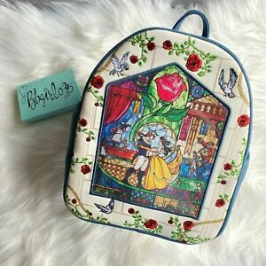LOUNGEFLY NWT Disney Beauty and the Beast Stained Glass Mini Backpack BL EXCL