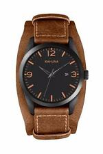 KAHUNA MEN'S BLACK DIAL BROWN CUFF STRAP WATCH - KUC0060G - RRP:£50