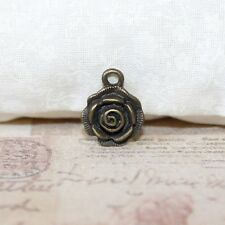 Cute antique bronze carved rose charms x5