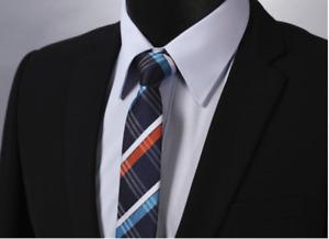Slim Silk Tie Navy Blue White & Orange Plaid & Checkered Formal Wedding