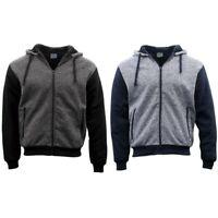 Men's Two Tone Zip-Up Hoodie Thick Sherpa Fur Winter Jacket Jumper