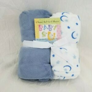2 Baby & U Soft Ultra Cozy & Comfy Blue/Wht Crib / Toddler Bed Fitted Sheet NIP